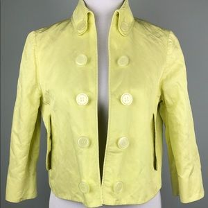 Carlisle Yellow Crop Button Jacket Blazer Size 8 M